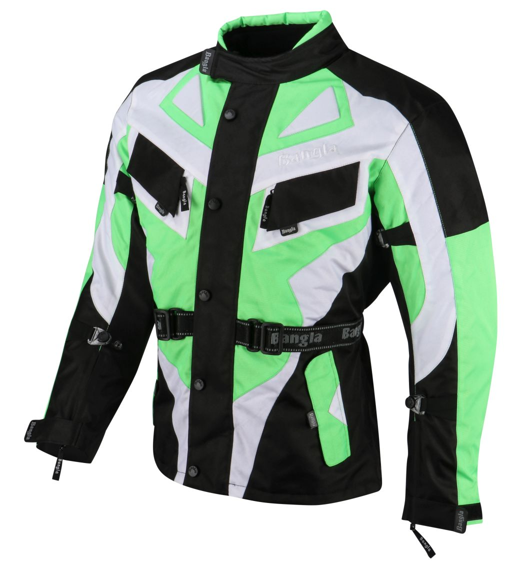 Bangla Motorrad Textil Jacke Cordura grün schwarz weiss Motorradjacke M  - 6 XL