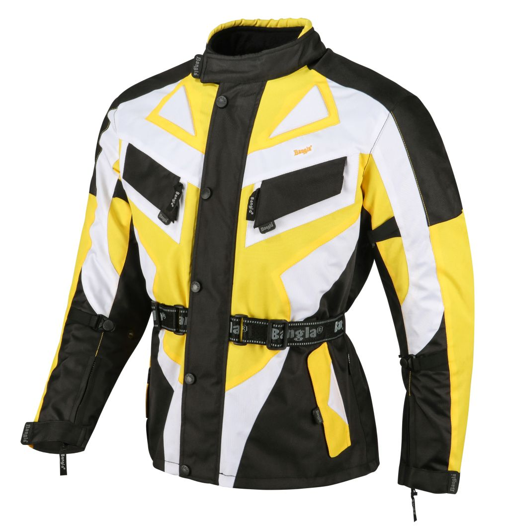 Bangla Motorrad Jacke Motorradjacke Textil Cordura gelb schwarz weiss M - 6 XL