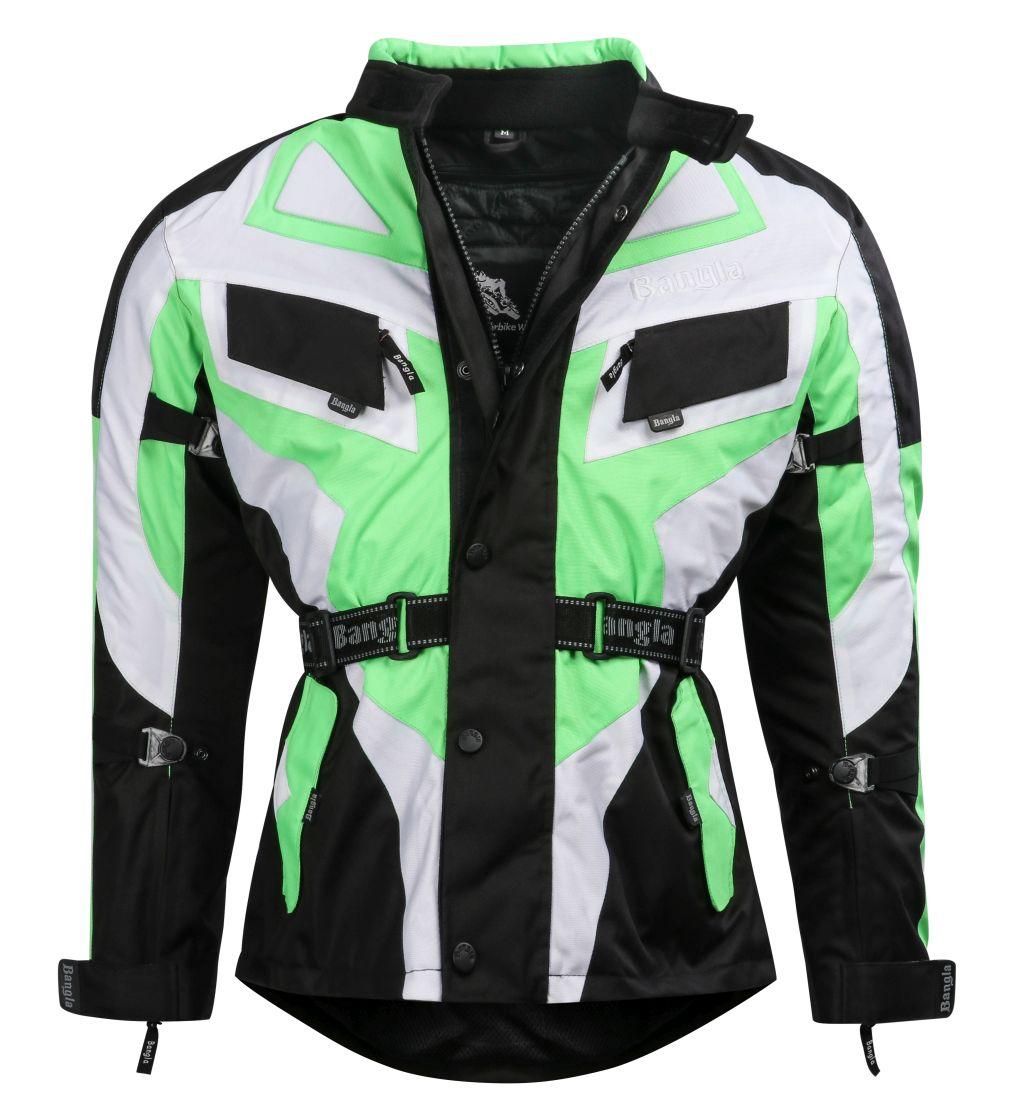 Kinder Motorradjacke Motorrad Textil Jacke Cordura gruen schwarz weiss 128 - 176
