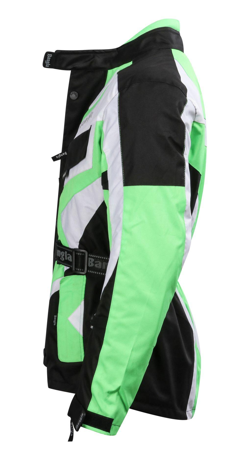 Bangla Motorrad Jacke Motorradjacke Textil Cordura grün schwarz weiss M  - 6 XL