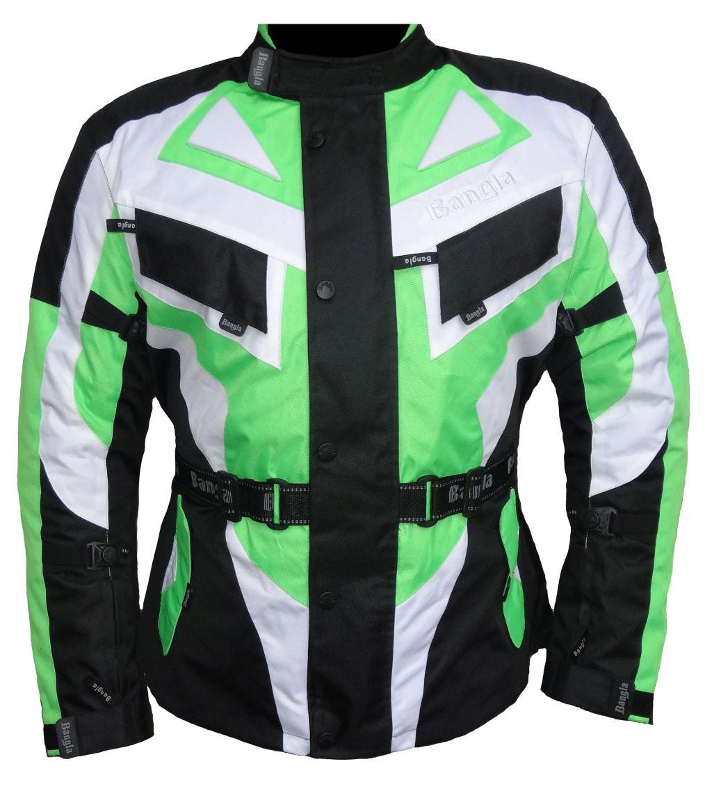 Bangla Motorrad Textil Jacke Cordura grün schwarz weiss Motorradjacke M L - 6 XL