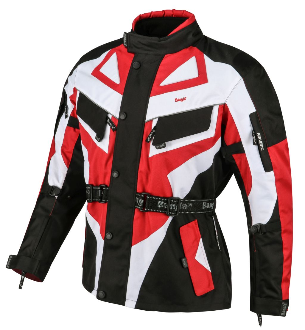 Bangla Motorrad Textil Jacke Cordura rot schwarz weiss Motorradjacke S - 6 XL
