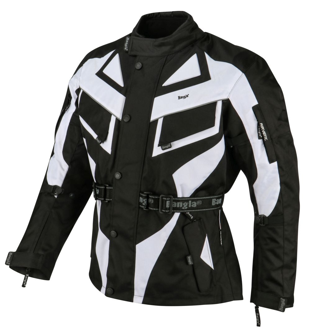 Bangla Kinder Motorradjacke Motorrad Jacke Textil schwarz weiss 128 - 176