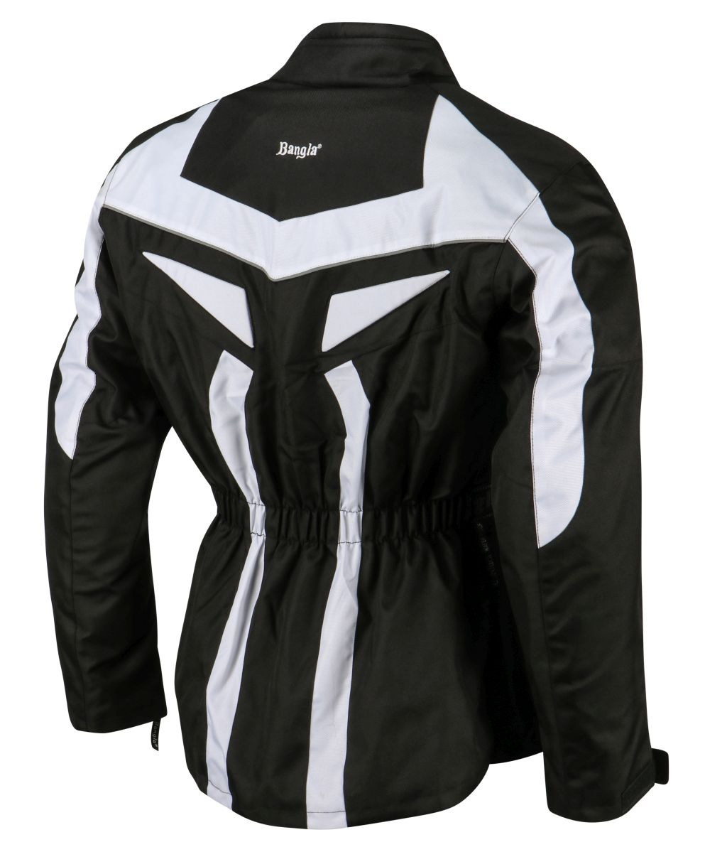 Bangla Motorrad Jacke Motorradjacke Textil Cordura schwarz weiss S - 6 XL
