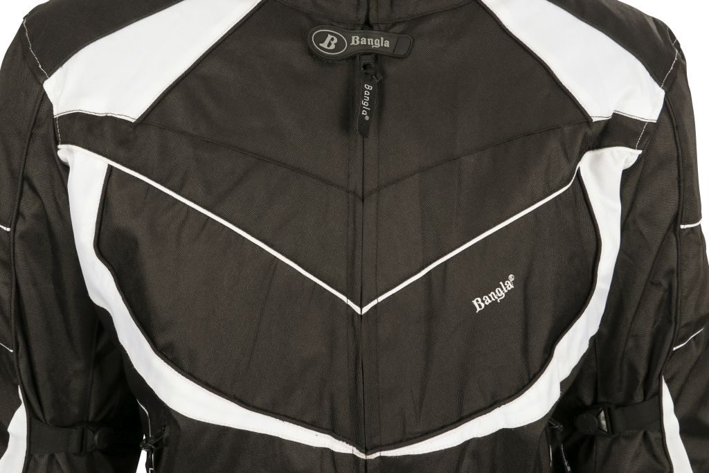 Bangla Motorrad Jacke Motorradjacke Textil kurz schwarz weiss M - 6 XL
