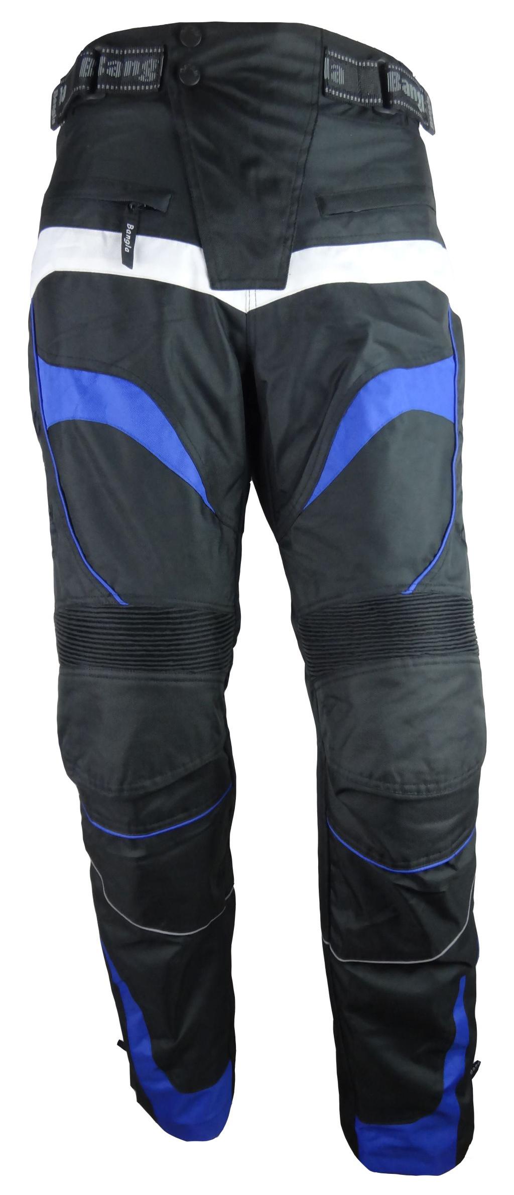 Bangla Motorrad Hose Motorradhose Protektoren Textil schwarz blau weiss S - 8 XL