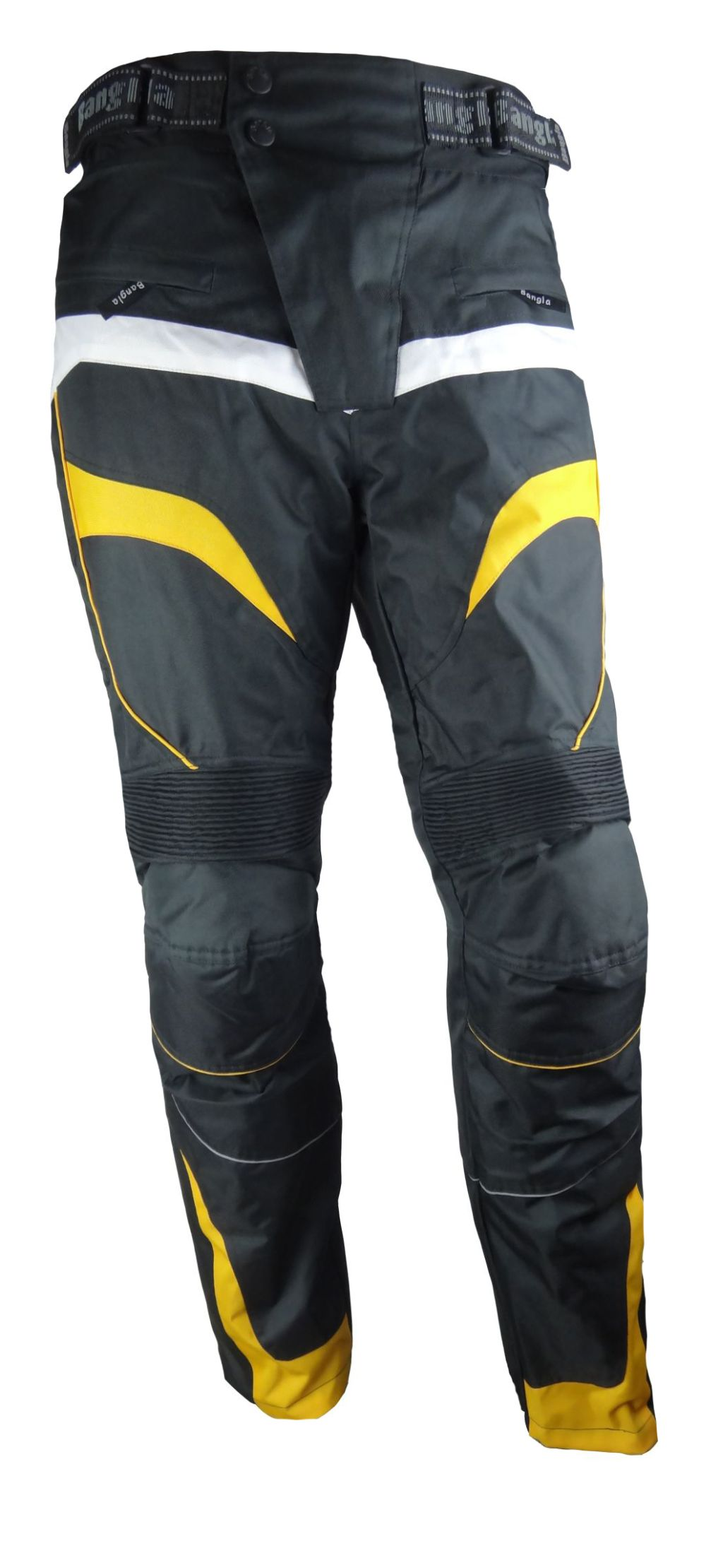 Bangla Motorrad Hose Motorradhose Textil  Cordura schwarz gelb S - 6 XL