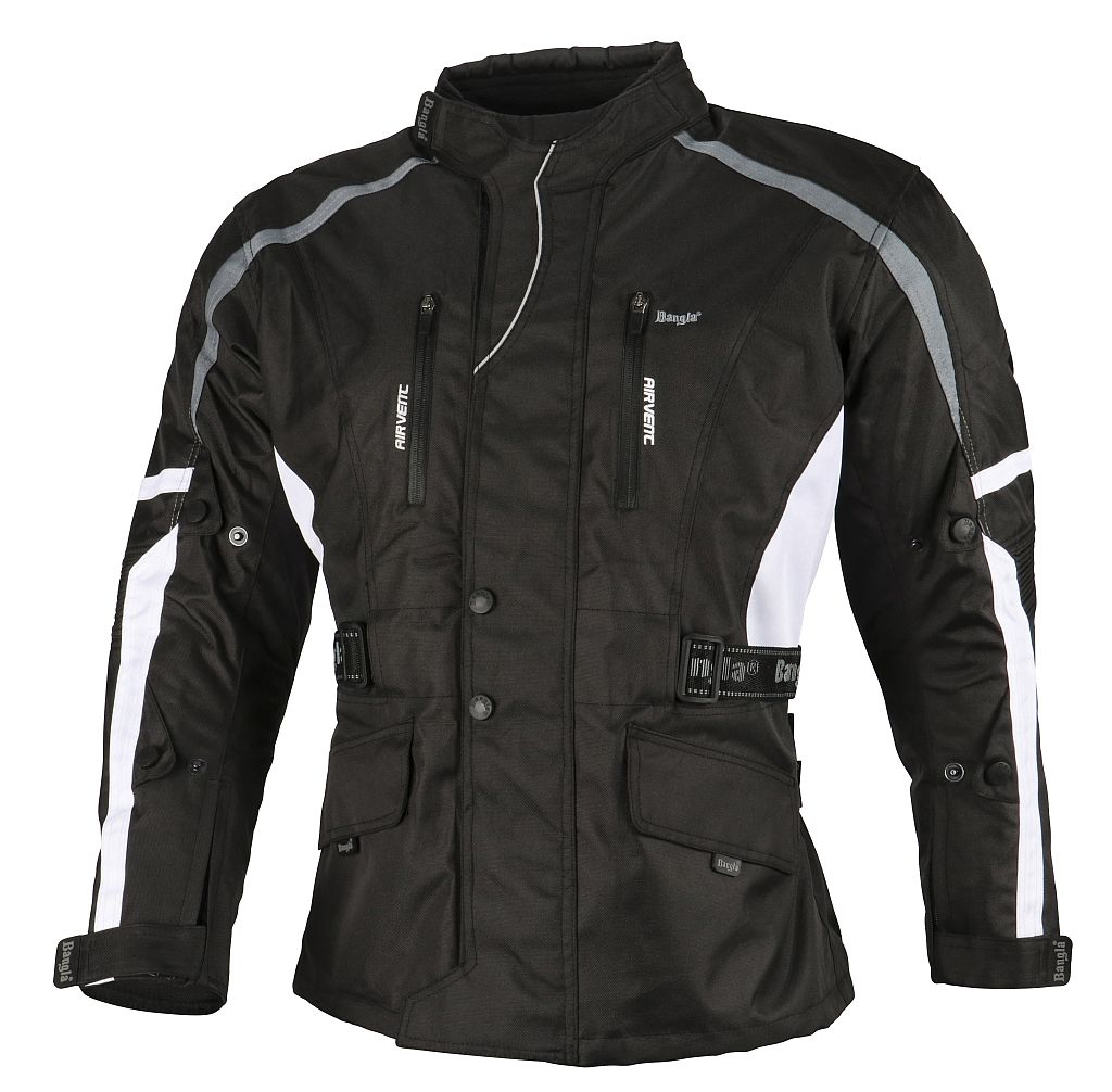 Bangla Motorradjacke Motorrad Jacke Textil Cordura schwarz weiss grau M - 8 XL