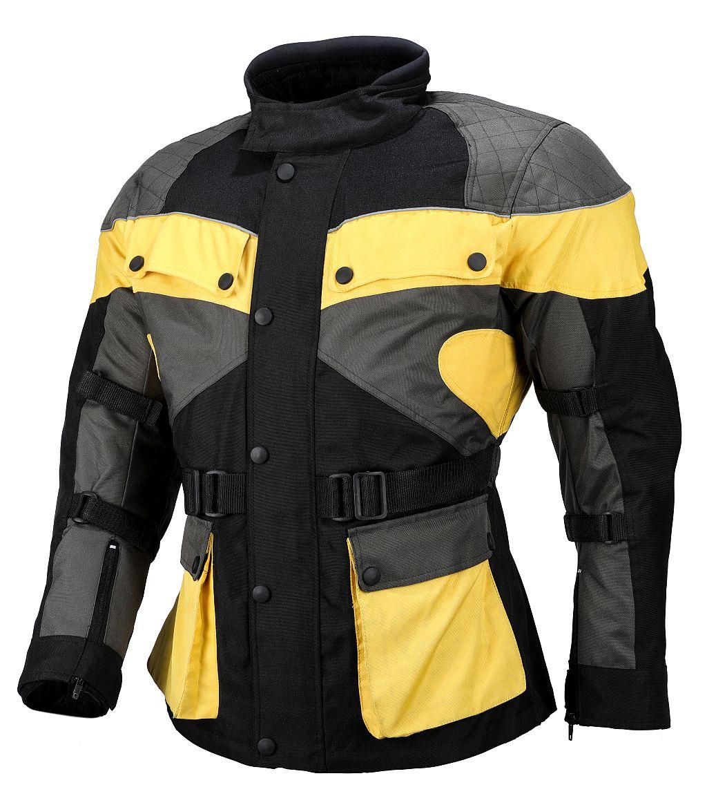 Kinder Jacke Motorradjacke Cordura MX Gelb schwarz Neu 128 - 164
