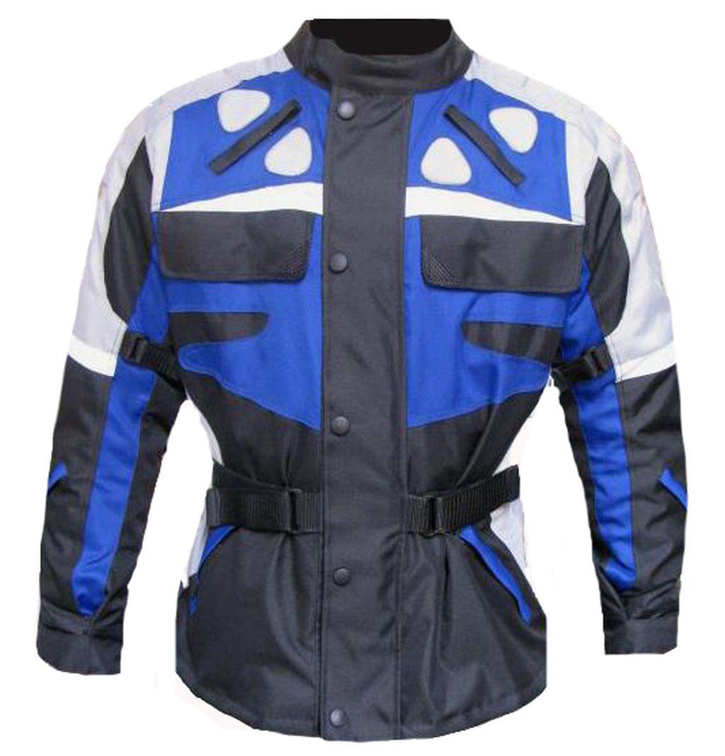 Motorradjacke Textil Motorrad Cordurajacke Jacke Blau-Grau S M