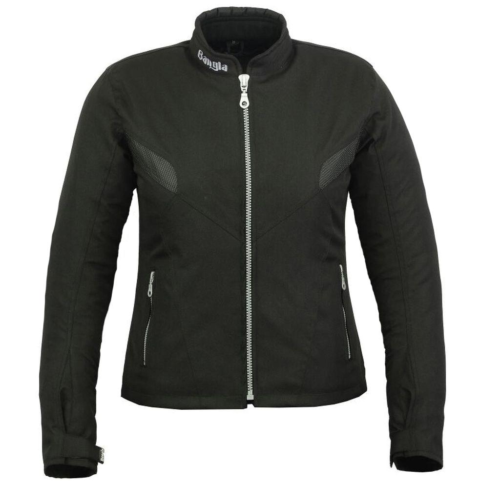 Bangla Damen Motorrad Jacke Motorradjacke Textil Schwarz kurz S - XXXL