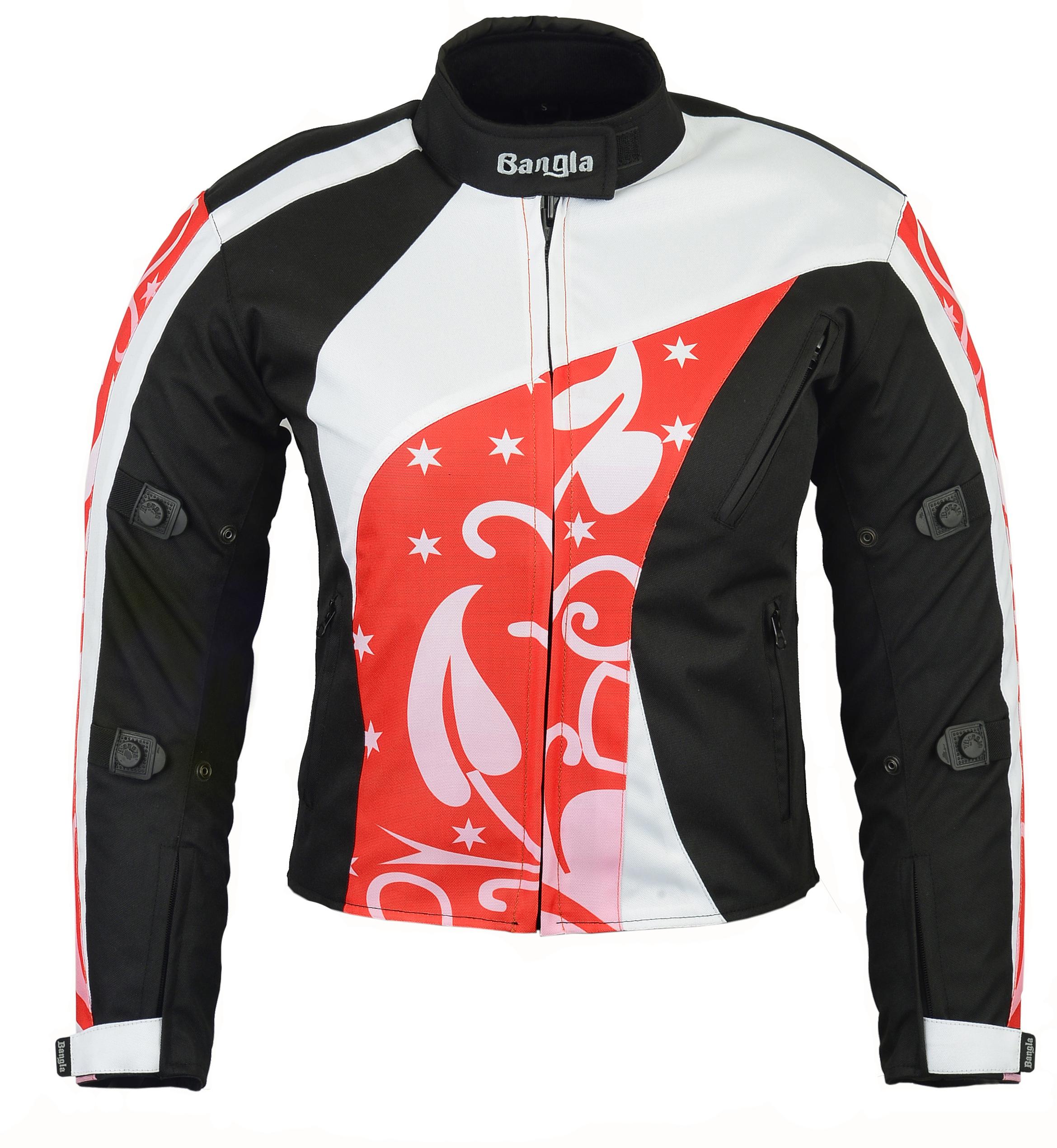 Bangla Damen Motorrad Jacke Motorracke Textil Schwarz/rot/weissS M L XL XXL XXXL