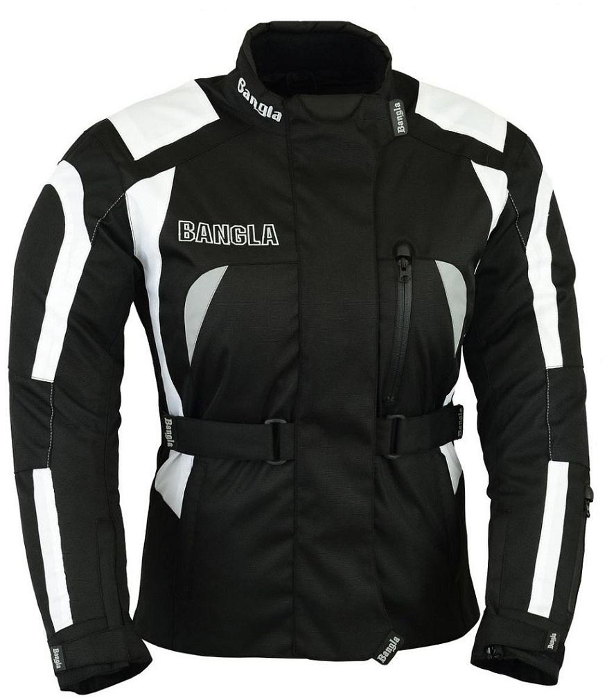Bangla Damen Motorrad Jacke Motorradjacke Cordura Textil Schwarz Weiss S - XXXL