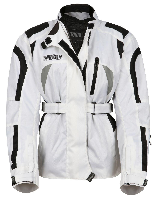 Bangla Damen Motorrad Jacke Motorradjacke Cordura Textil Weiss schwarz S - XXXL