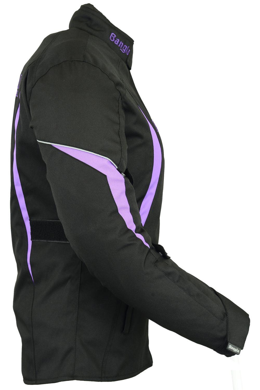 Bangla Damen Motorrad Jacke Motorradjacke Textil Schwarz lila S M L XL XXL XXXL