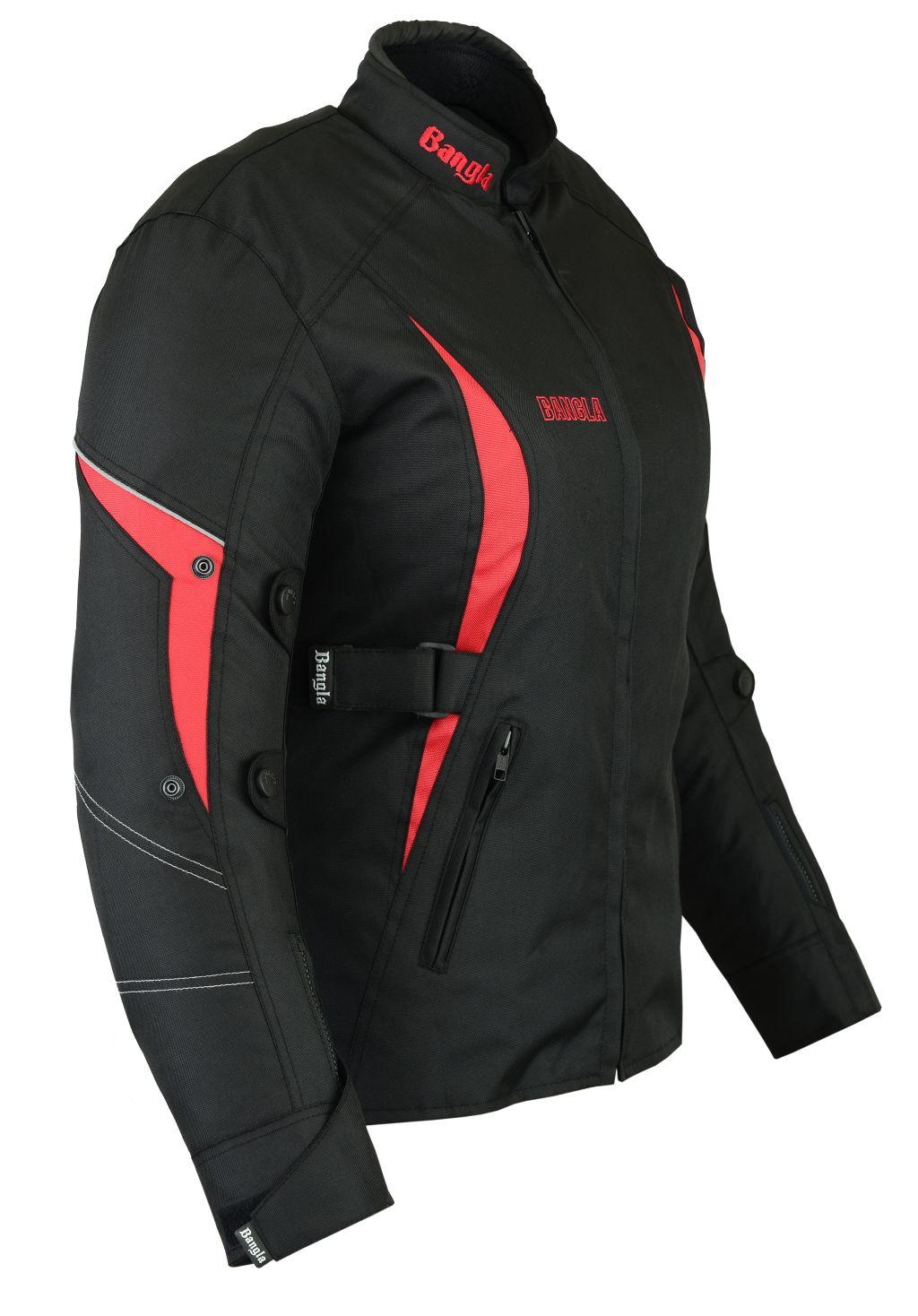 Motorradjacke Damen Textil Jacke Schwarz Rot Bangla S M L XL XXL XXXL