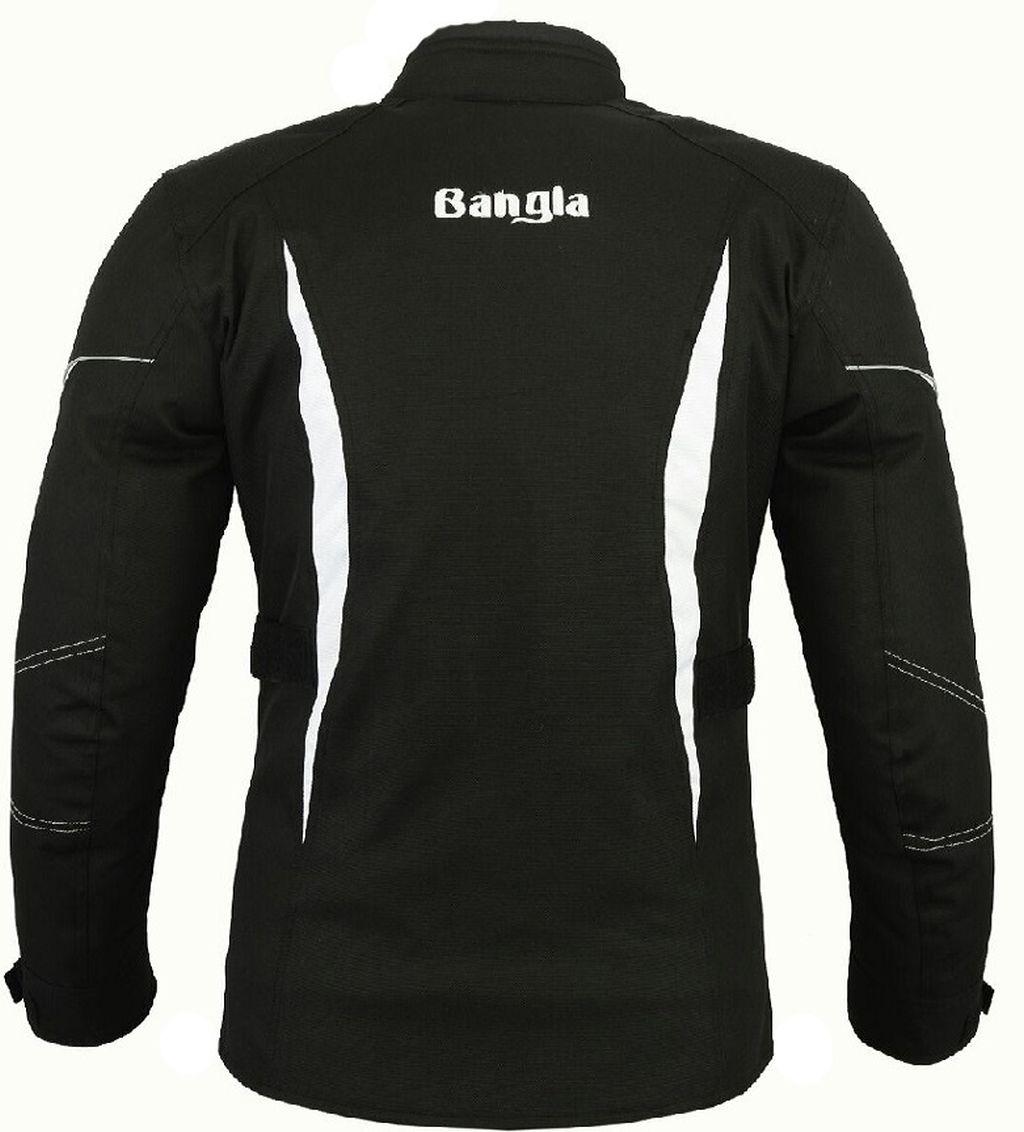 Bangla Damen Motorrad Jacke Motorradjacke Textil Schwarz weiss S - XXXL