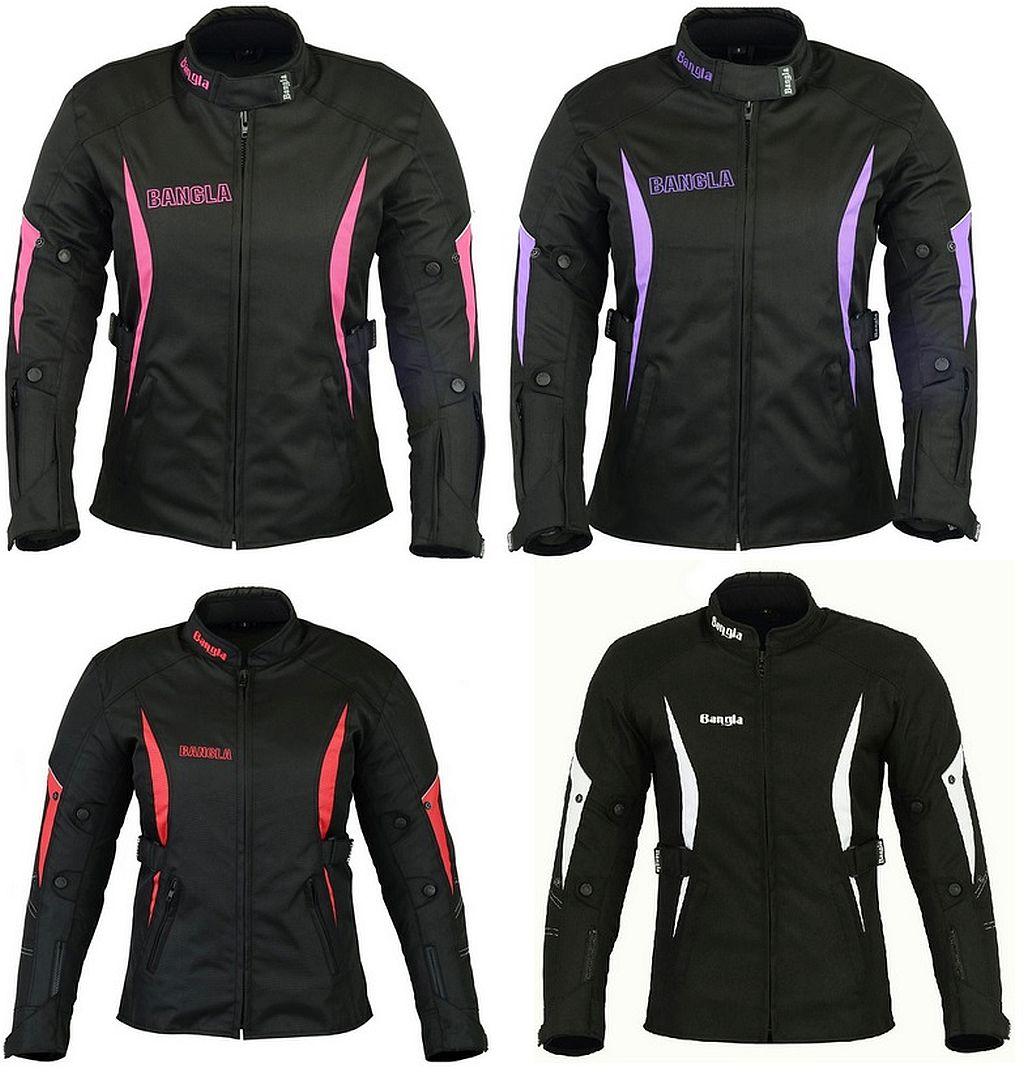 Damen Motorrad Jacke Motorradjacke Textil Schwarz Pink Rot Weiss Lila S - XXXL