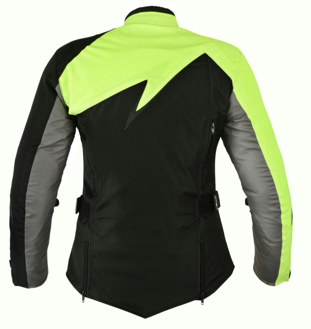 Bangla Damen Motorrad Jacke Motorradjacke Textil Schwarz Neon Grau S - XXXL