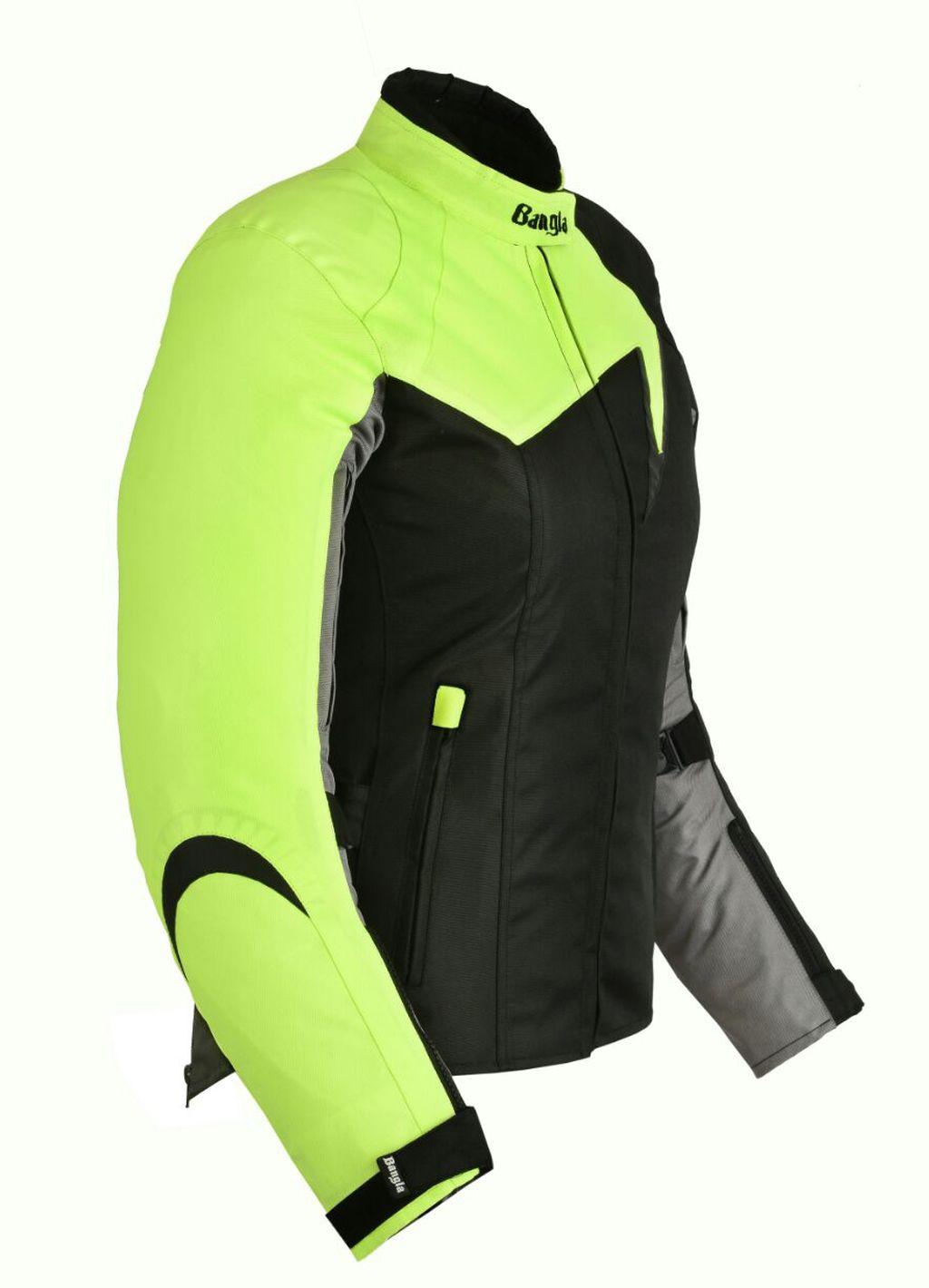 Bangla Damen Motorrad Jacke Motorracke Textil Schwarz Neon Grau S - XXXL