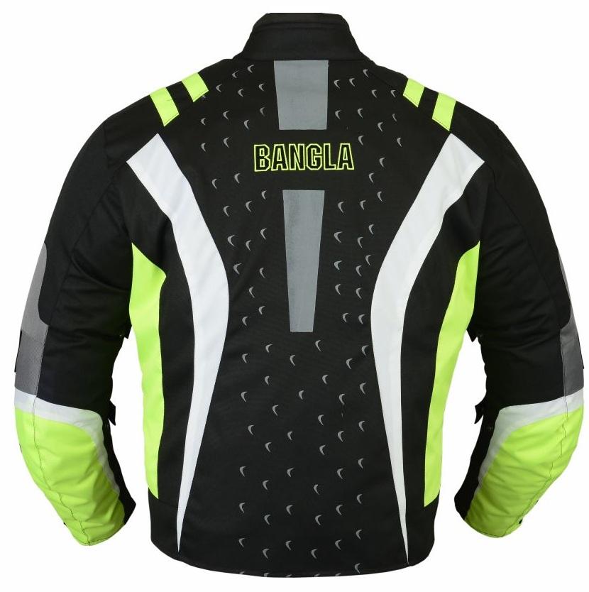 Bangla Motorrad Textil Jacke Cordura Neongrün schwarz grau  S - XXXL