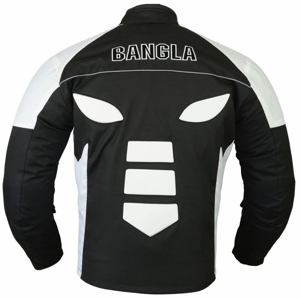 Bangla Textil Motorrad Jacke Motorradjacke Textil schwarz weiss grau S - XXXL