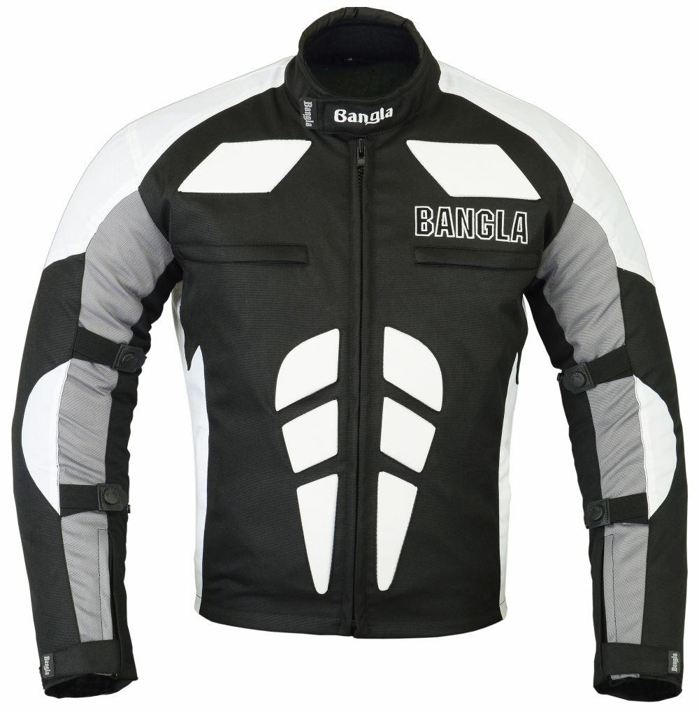 Bangla Motorrad Jacke Motorradjacke Textil Cordura schwarz weiss grau S - XXXL