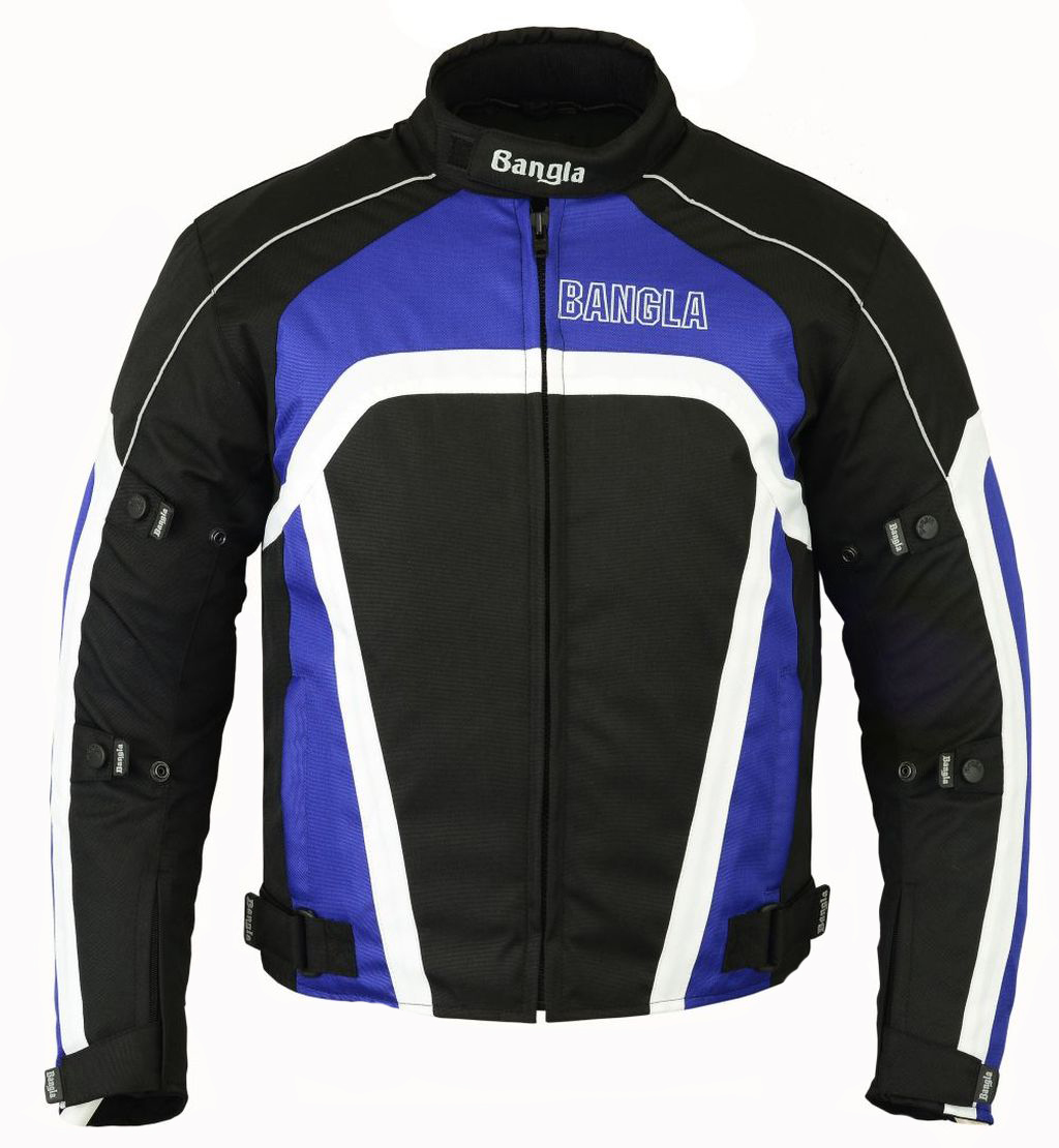 Bangla Textil Motorradjacke Motorrad Roller Quad Jacke blau schwarz weiss S-XXL