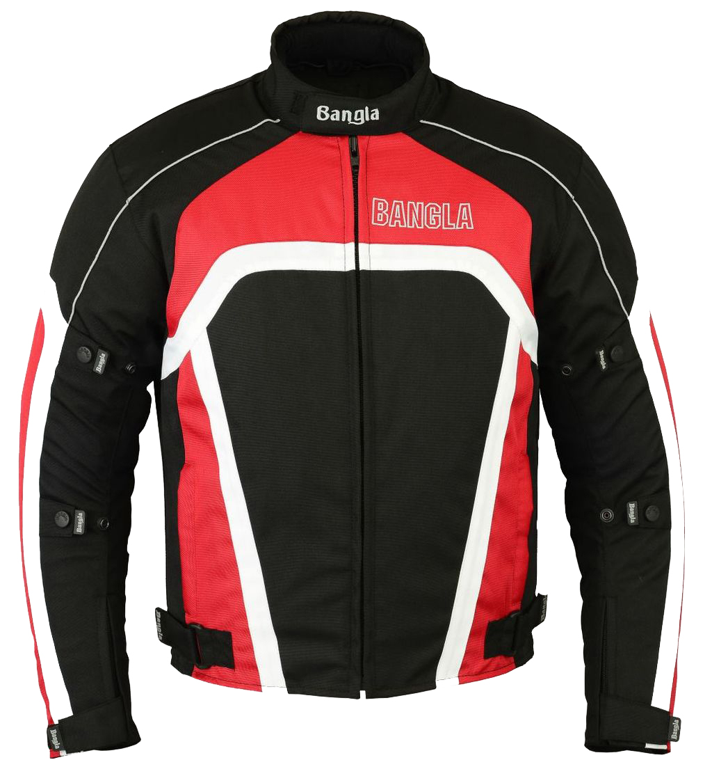 Bangla Textil Motorradjacke Motorrad Roller Quad Jacke rot schwarz weiss S - XXL