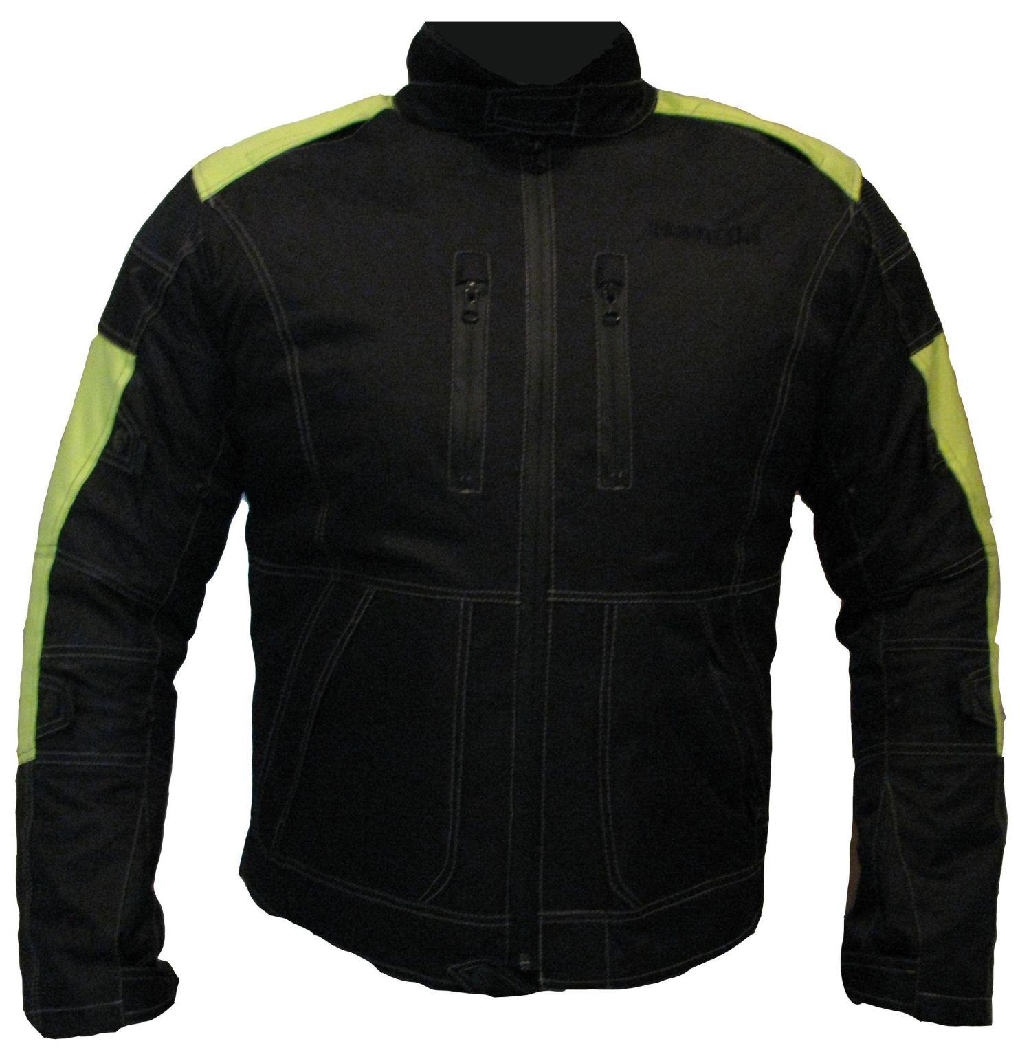 Motorrad Jacke Touren Cordura Motorradjacke Schwarz Neongelb 3XL und XL