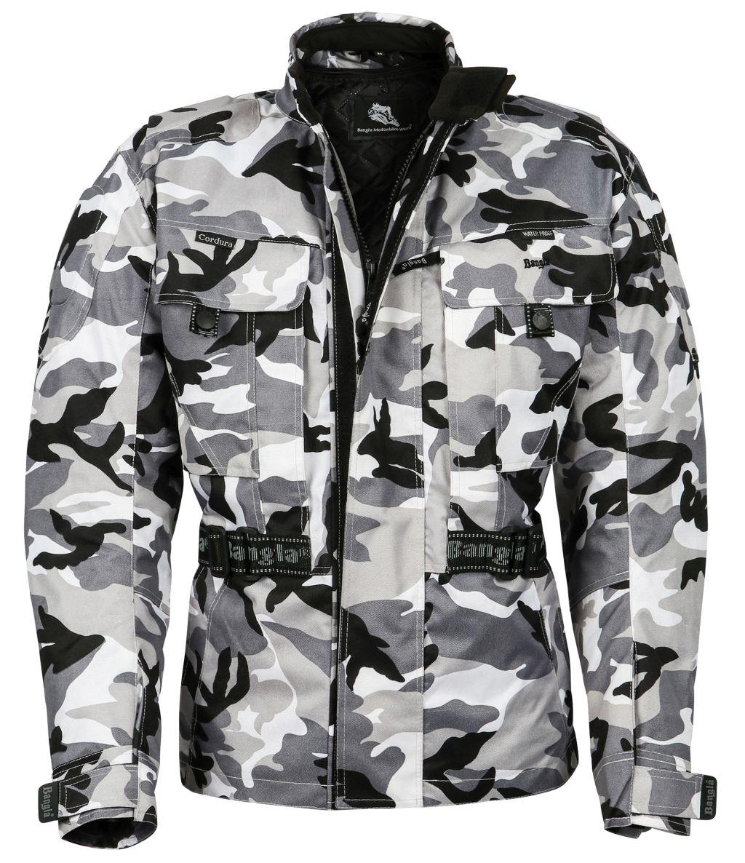 Bangla Motorrad Jacke Motorradjacke Textil Protektor Camouflage/Grau S - 8 XL