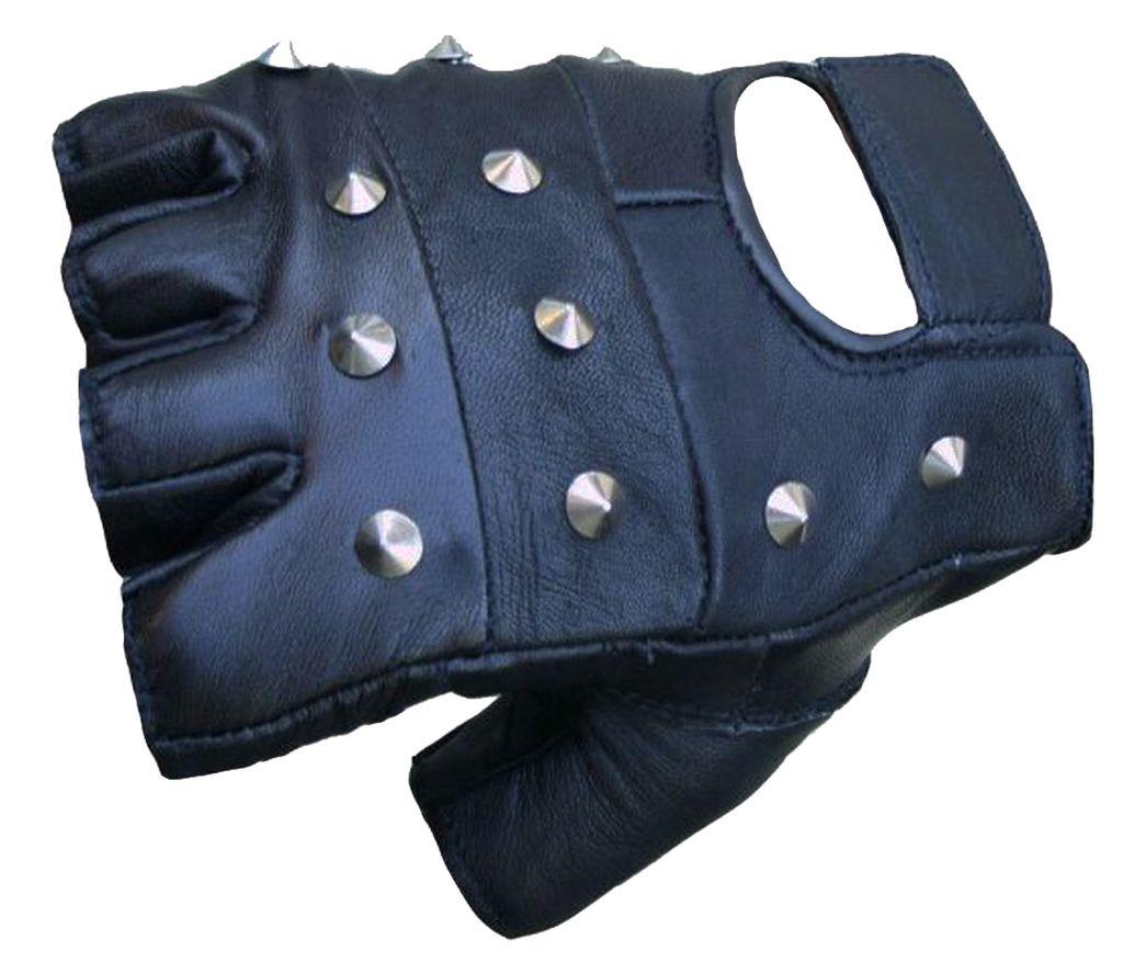 Motorradhandschuhe Leder Motorrad Handschuh Fingerling Nieten Neu Gr.XS-XXL