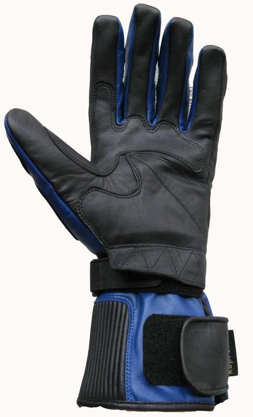 Motorradhandschuhe Leder Handschuhe 04 Blau Schwarz  S M XL