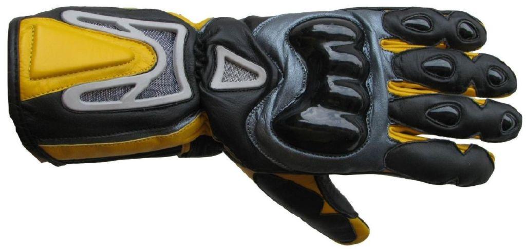 Motorradhandschuhe Leder Handschuhe 04 Gelb Schwarz M