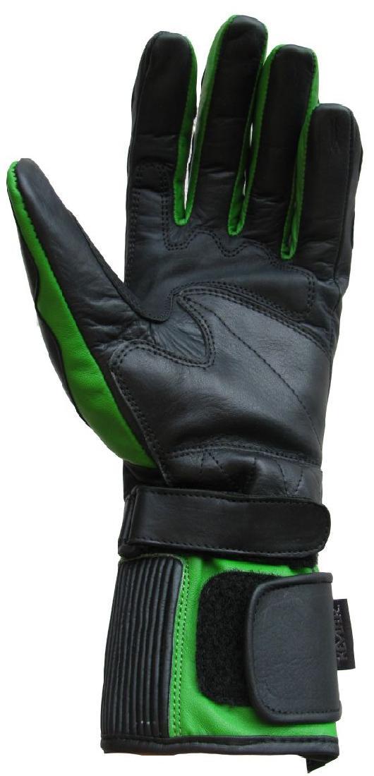 Motorradhandschuh Motorrad Leder Handschuh Grün schwarz 04 XS S