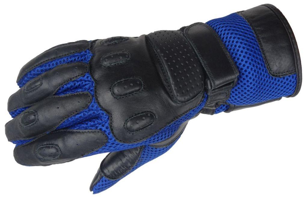 Bangla Motorradhandschuhe Motorrad Handschuhe Leder schwarz blau S - XXXL 5009
