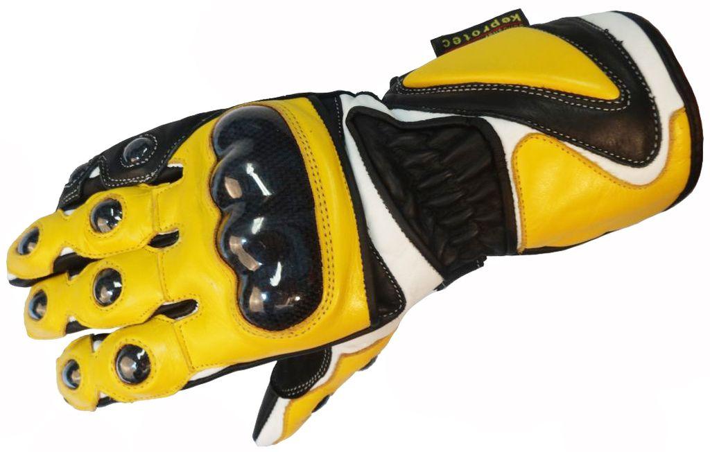 Bangla Motorrad Handschuhe Motorradhandschuhe Quad Leder gelb weiss XS-XXL