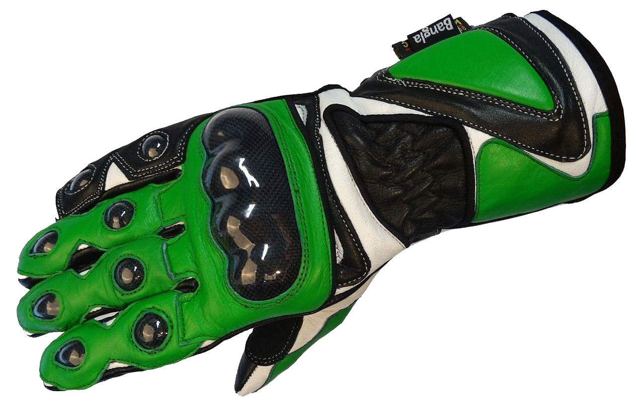 Bangla Motorradhandschuhe Motorrad Biker Handschuhe Leder 5011 grün XS-XL