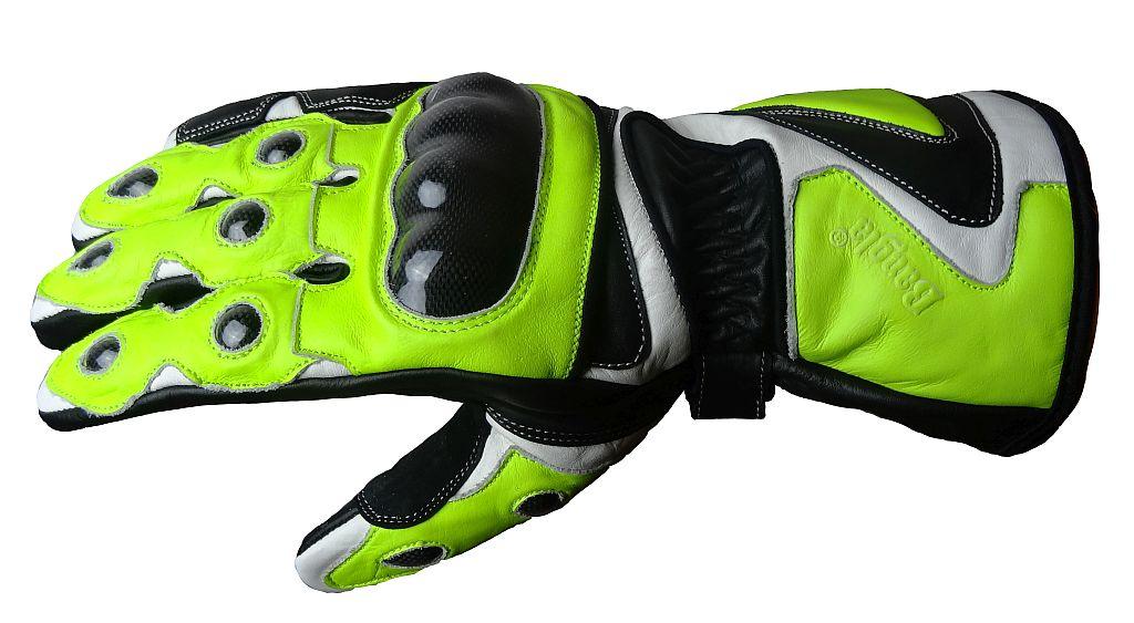 Bangla Motorrad Handschuhe Motorradhandschuhe Leder neon schwarz weiss S - XXL