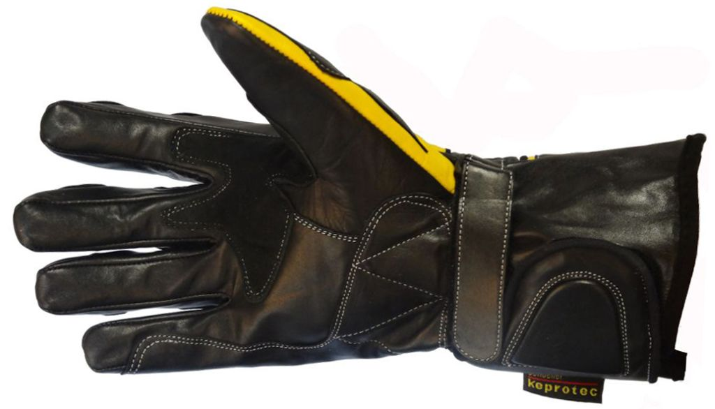 Bangla Motorradhandschuhe Motorrad Handschuhe Leder Schwarz Gelb S-XXL
