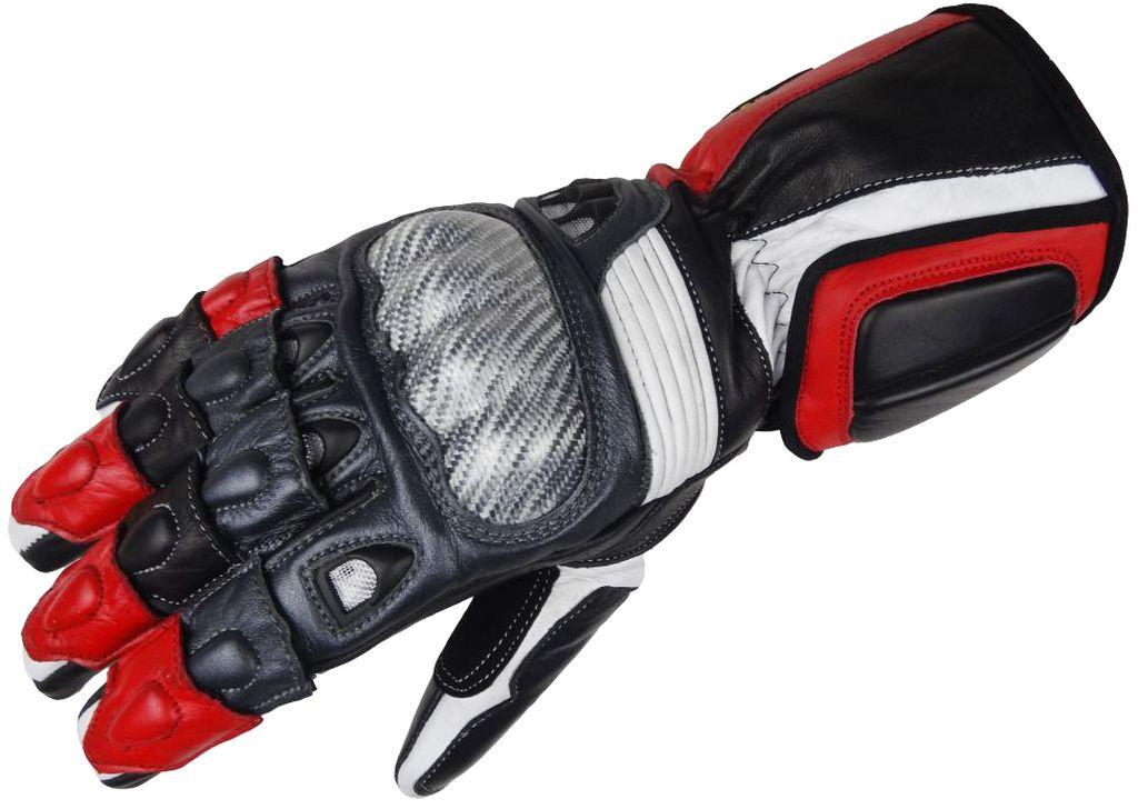 Bangla Motorradhandschuhe Motorrad Handschuhe Leder 5012 schwarz rot L - XL