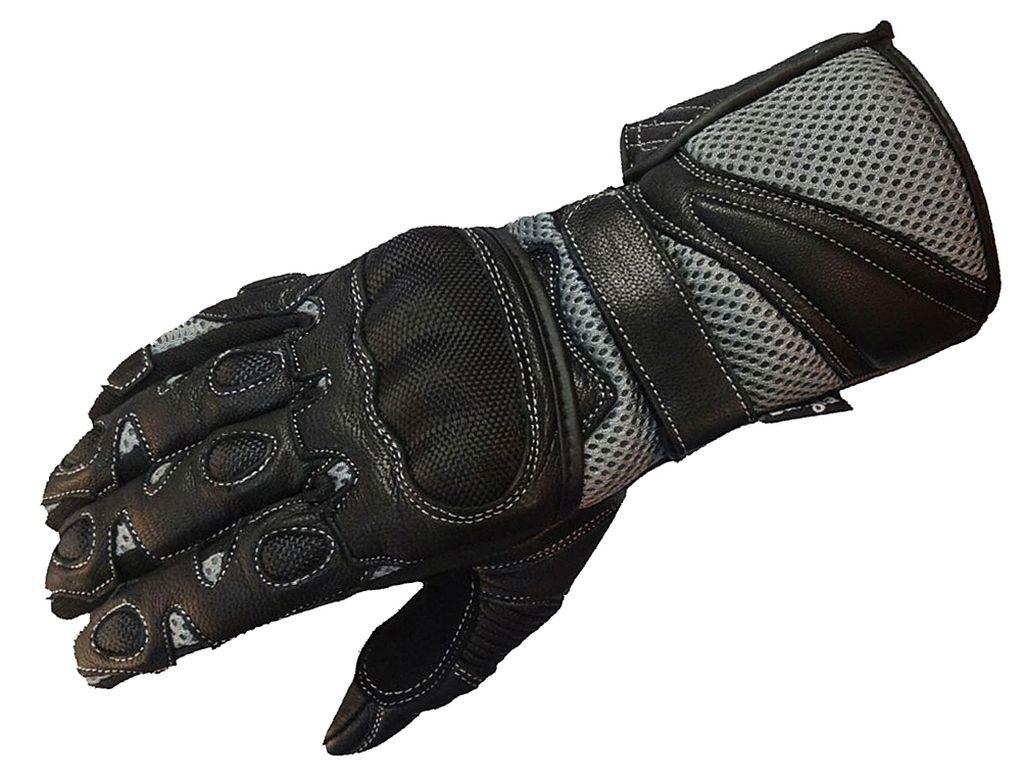Bangla Motorradhandschuhe Motorrad Handschuhe Leder Grau Schwarz XS - XXXL
