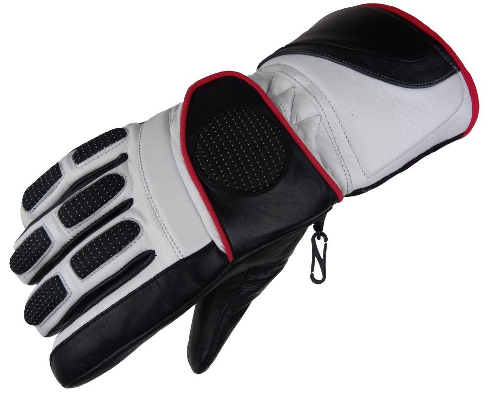 Winter Motorradhandschuhe Handschuh Motorrad Roller Leder Schwarz/ Weiß XS -XXL