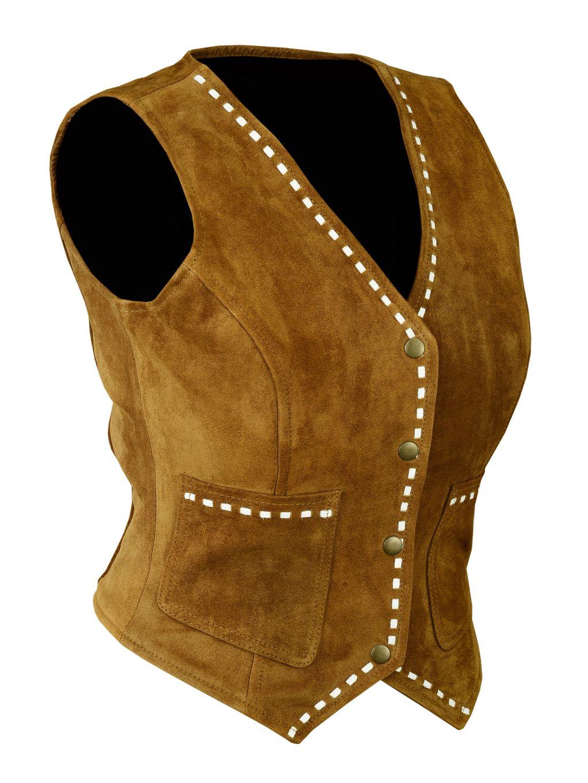 Bangla Damenweste Lederweste Cowboy Leder Weste 4004 Braun 36 - 44
