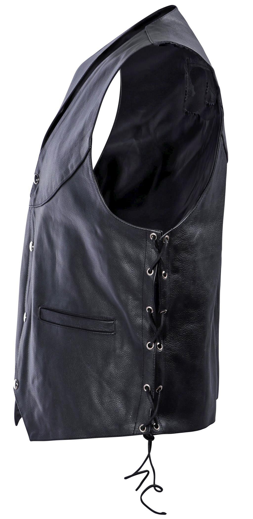 Bangla Herren Lederweste Bikerweste mit Schnürung 1702 Schwarz XXS - 5 XL