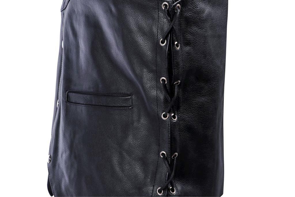 Bangla Motorrad Herren Leder Weste Lederweste Kutte schwarz Schnürung 6 -10 XL